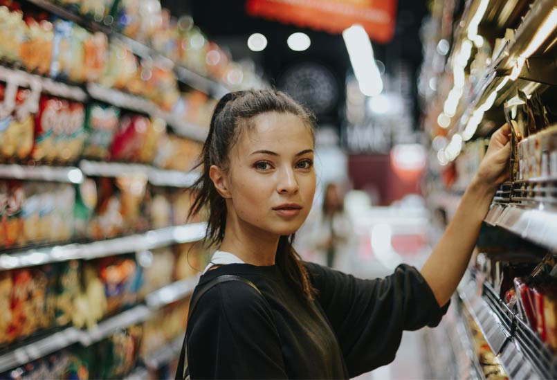 Woman shopping for ingredients